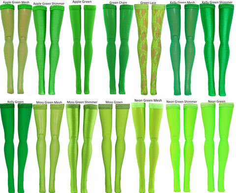 Medium Green Doll Stockings to fit Bratzilla - Moxie Teen - Liv - DC Heroes - Dolls - Doll Clothes