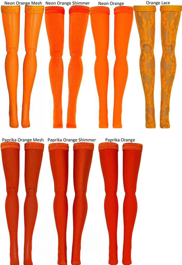 Orange Doll Stockings for 1/6 Scale Figures - Phicen - Hot Toys - Cy Girls - Kumik - Triad - Dollfie - Momoko - Obitsu - Gildebrief French Fashion - Doll Clothes