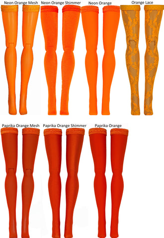 Orange Doll Stockings for Blythe - Middie Blythe - Chubby Blythe - Azone Pure Neemo - Picco Neemo - Doll Clothes