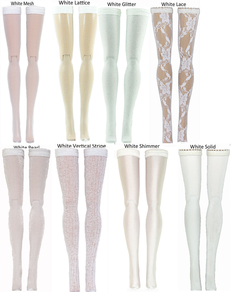 White Doll Stockings for 1/6 Scale Figures - Phicen - Hot Toys - Cy Girls - Kumik - Triad - Dollfie - Momoko - Obitsu - Gildebrief French Fashion - Doll Clothe