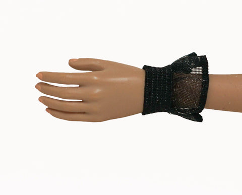 Doll Wrist Cuffs for 1/6 Scale Female Action Figures - Black Ruffle - Doll Clothes - fits Phicen - Hot Toys - Cy Girls - Kumik
