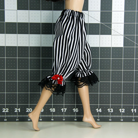 "Doll Bloomers for 12"" Kish Dolls - Black & White Stripe - Doll Clothes"