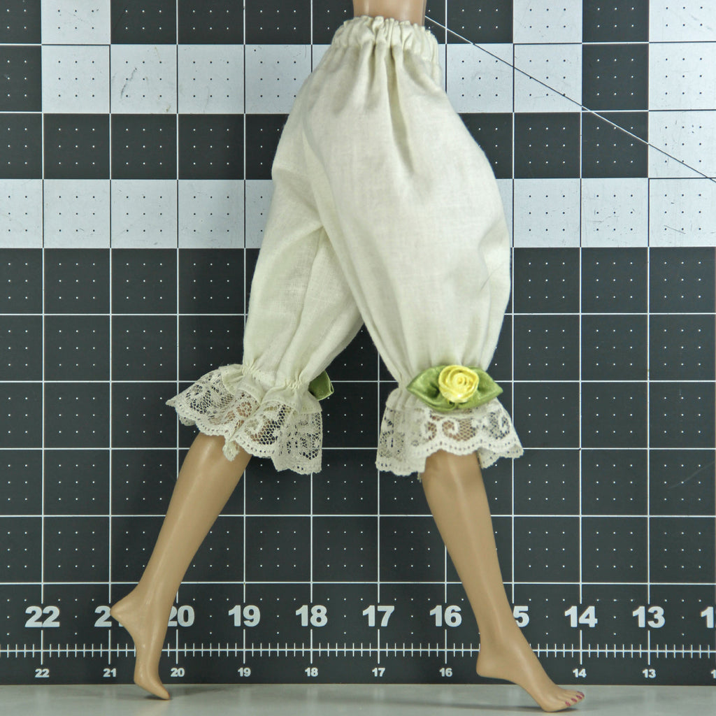 "Doll Bloomers for Barbie & Friends - Cream - Doll Clothes - Barbie - Francie - Skipper - Stacie - Made to Move - Curvy - Tall - Petite - 17"" - Supersize"