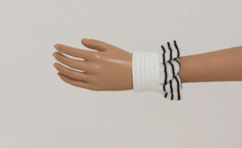 Doll Wrist Cuffs for 1/6 Scale Female Action Figures - Sport Stripe Ruffle - Doll Clothes - fits Phicen - Hot Toys - Cy Girls - Kumik