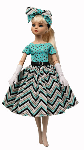 Doll Dress set for Ellowyne Wilde or Fairyland Minifee - Turquoise Distraction