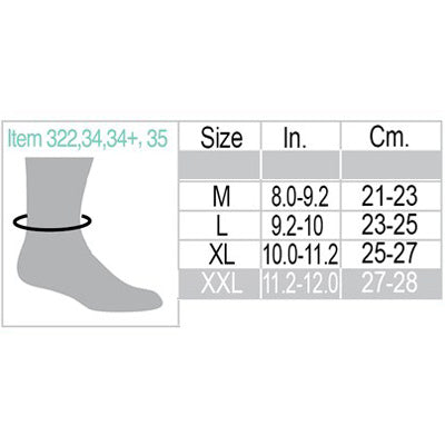 Uriel Ankle Support Sleeves Size Chart