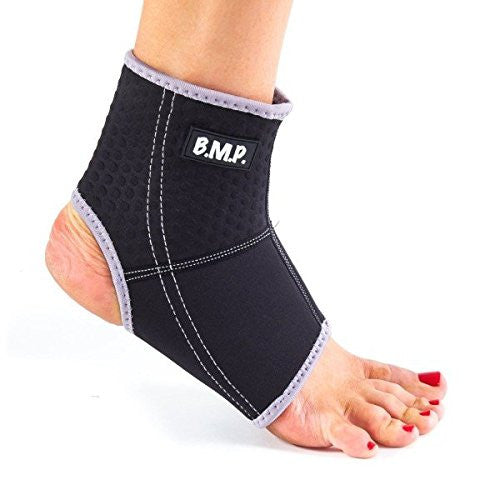 BMP Breathable Lightweight Neoprene Black Ankle Brace & Compression Sleeve
