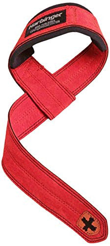Harbinger Padded Leather Lifting Straps-Red