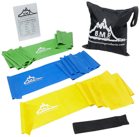 BMP Therapy Exercise Bands with Carrying Case, Door Anchor and Starter Guide