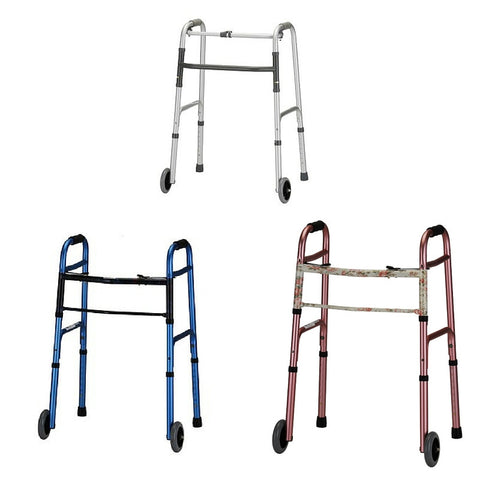 "Nova Medical Lightweight Adult Aluminum Walkers with 5"" Wheels - PTdunrite - 1"