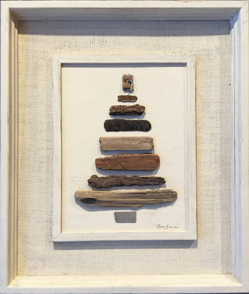 ORIGINAL Large Driftwood & Metal Tree in 22 x 26 Vintage Frame