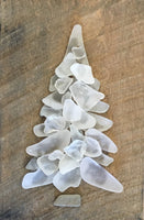 Original 5 1/2 x 8 White Beach Glass Tree on Salvage Wood