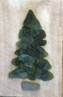 Original 5 1/2 x 8 1/2 Deep Green Beach Glass Tree on Driftwood