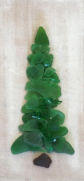 Original 4 1/2 x 9 1/2 Green Beach Glass Tree on Salvage Wood