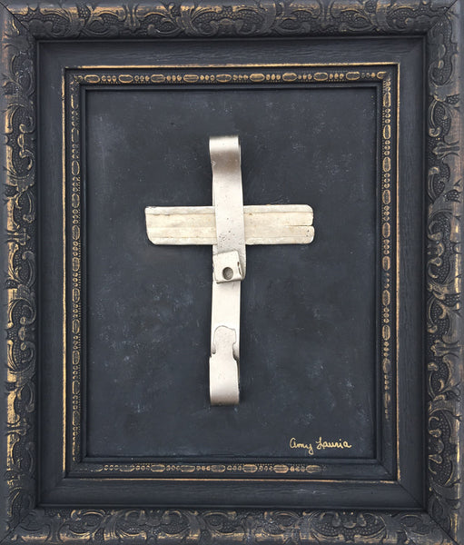 Metal Cross ~ 15 x 17 Original Art in Painted Vintage Wood Frame
