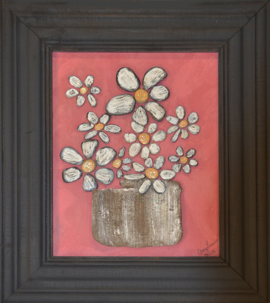 DAISIES ~ Original Art in Painted Vintage Wood Frame