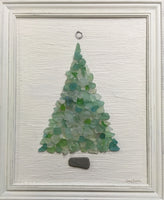 2016 ORIGINAL 19 1/2  x 23 1/2 Teal Beach Sea Glass Tree