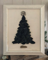 Black Beach Glass in Elegant Vintage Frame