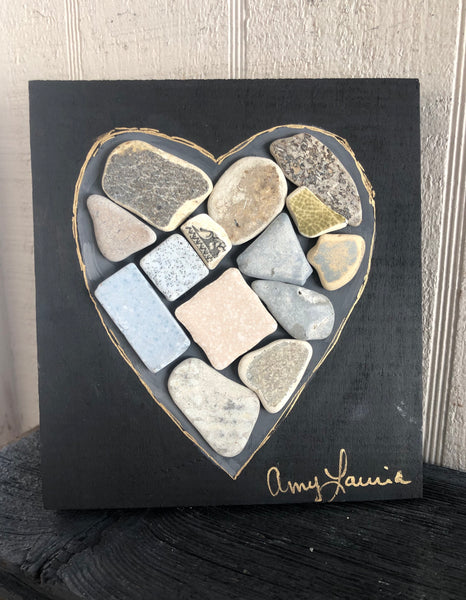 Ceramic Tile Heart on Salvage Wood