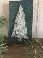 White Glass Tree on Teal Washed Salvage Wood