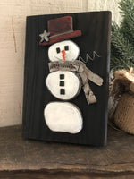 Stone Snowman on 5 1/2 x 8 Salvage Wood