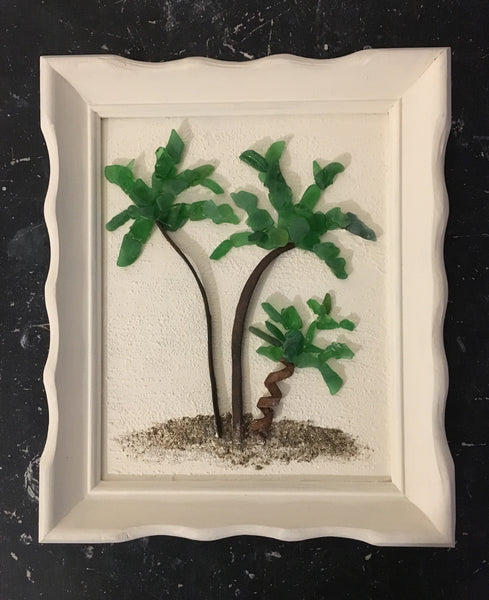 Beach Glass Palm Trees - Framed