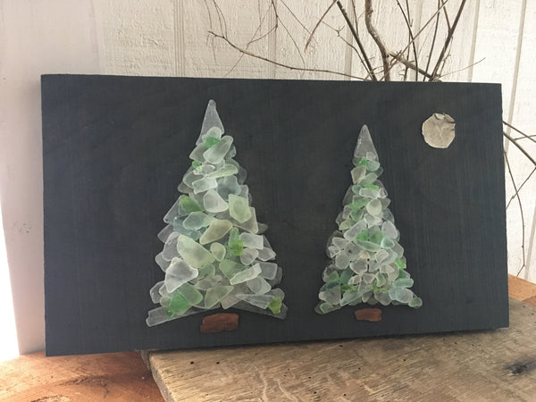 Teal Trees on Salvage Wood
