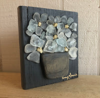 Beach Glass Daisies on Salvage Wood