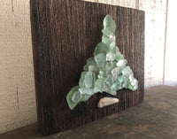 Teal Beach Glass Tree on Salvaged Barn Wood