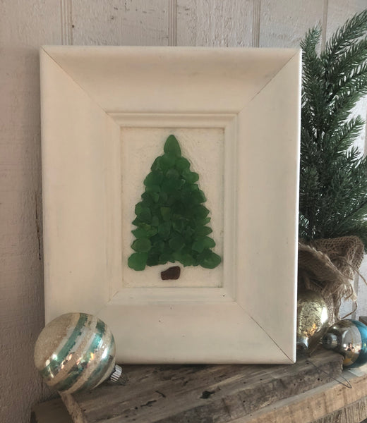Green Beach Glass Tree in Vintage Frame