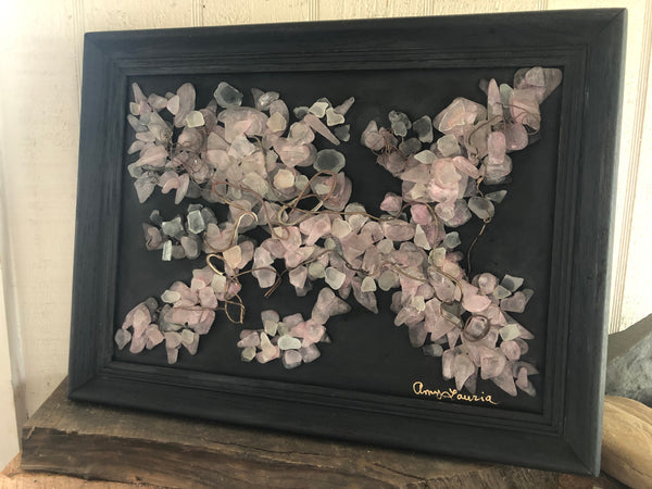 Beach Glass Cherry Blossoms  in 13 x 11 Vintage Wood Frame