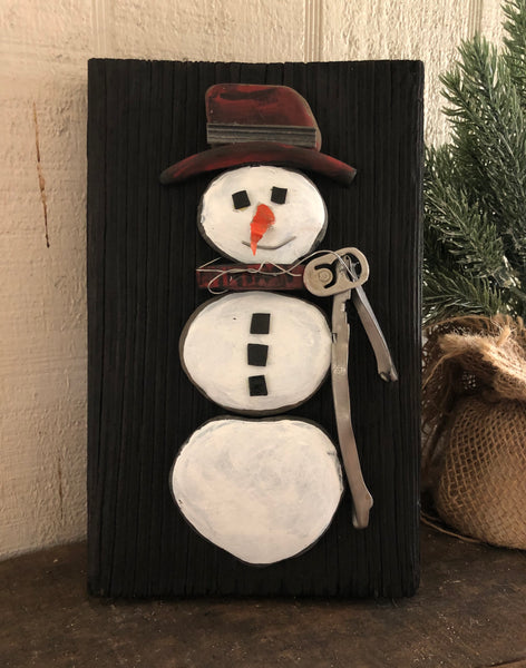 Stone Snowman on 5 1/2 x 8 1/2 Salvage Wood