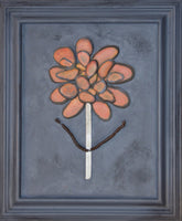 Funky Flower ~ Original Art in Painted Vintage Wood Frame