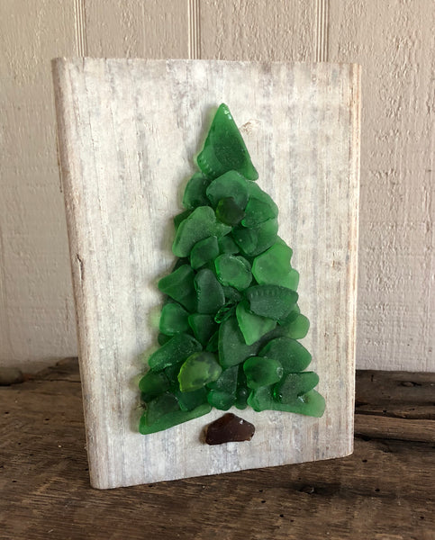 Green Beach Glass Tree on Driftwood