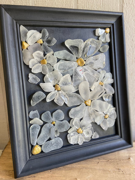 Beach Glass Daisies - Framed