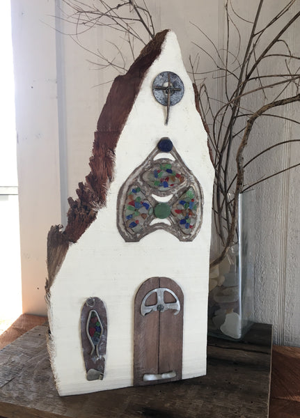 Funky White Chapel on Salvage Wood