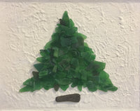 """Short Fat Tree"" ~ ORIGINAL Green Beach Sea Glass Tree Framed"