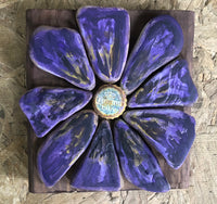 "Stone Pansy on Salvage Wood ""Corona"" Center"