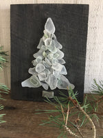 White / Teal Beach Glass Tree