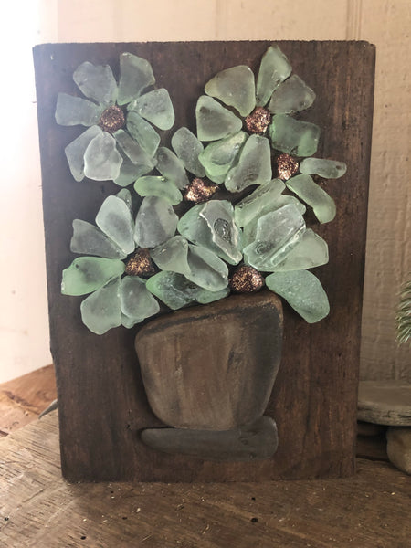Teal Green Beach Glass Flowers on Salvage Wood - Small