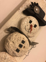 "Stone Snowman on 3 1/2"" x 10"" Salvage Wood"