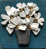 Stone Daisies on Teal Salvage Wood