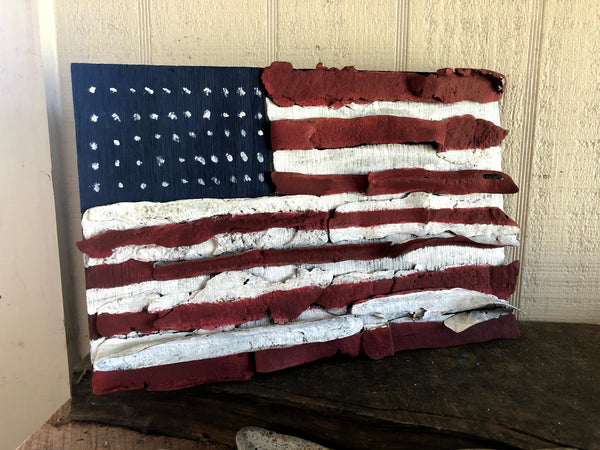 Copy of American Flag on Driftwood