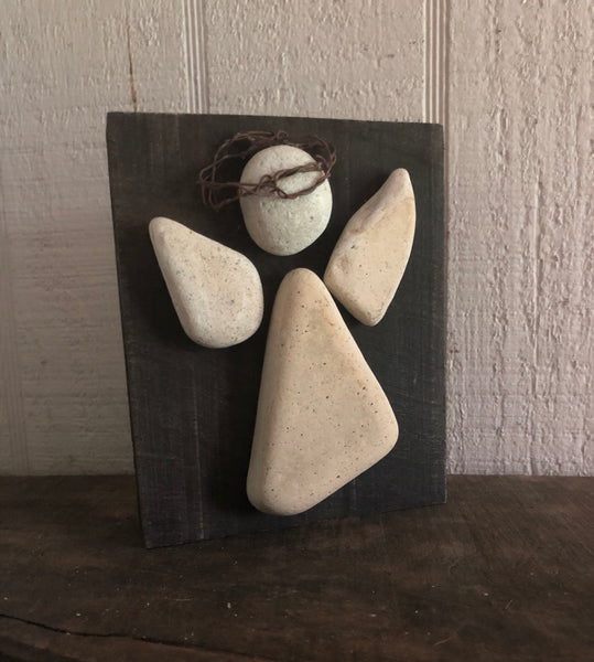 Cream Stone & Metal Angel on Salvage Wood