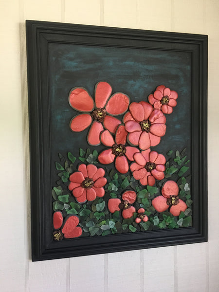 """Poppies"" Original Stone & Glass Art"
