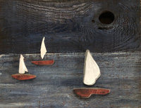 Sailboat Landscape on Salvaged Wood
