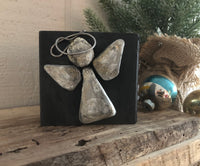 Small Stone & Metal Angel on Salvage Wood