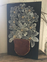 Beach Glass Daisies Salvage Wood - Barn Red Pot