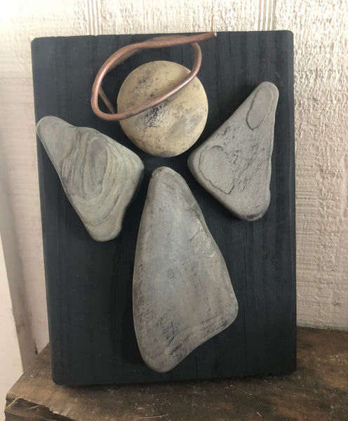 "Stone & Metal Angel on 5"" x 7"" Salvage Wood"