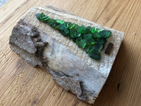 Small Green Beach Glass Tree on Salvage Wood